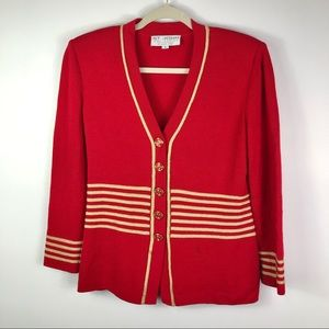 St. John Collection red gold button blazer size 4